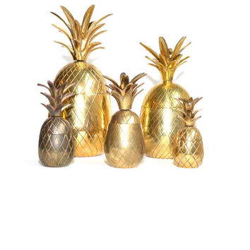 "Pineapple Brass Pineapple Box Brass 7.5"" Pineapple Box Wedding Decor Brass Pineapple Ananas Pina Pineapple Candle Holder"