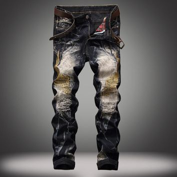 Strong Character Ripped Holes Denim Jeans [320832569373]