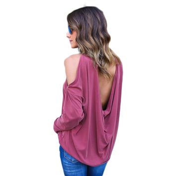 Bodecin Off The Shoulder Women Long Sleeve Low Back T Shirt
