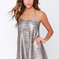 My Lucky Star Silver Sequin Dress
