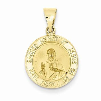 14k Gold Polished and Satin Sacred Heart of Jesus Medal pendant