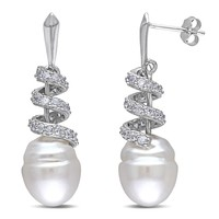 1.24 CT TGW Cubic Zirconia And 10.5 - 11 mm South Sea Fashion Pearl Earrings Silver White