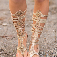 See Me Triumph In My Gladiator Sandals (Beige)