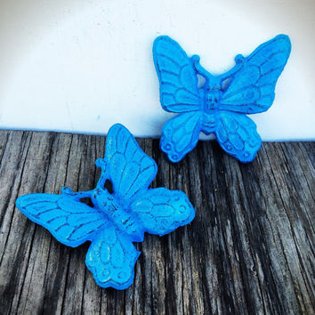 Ocean Oasis Blue Shabby Chic Butterfly Wall Decor - Spring Hand Painted Cast Iron 3D Wall Art