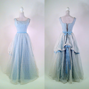 Vintage 1950s White Lace & Light Blue Gown - Prom Dress - Bustle Back