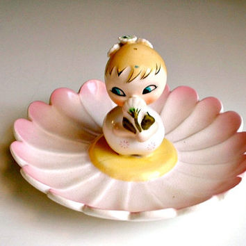 Holt Howard Daisy Dorable Dish Tray Vintage 1959 Japan Dresser Dish Ashtray