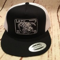 Lazy J Black and White Elevation Hereford Patch Cap   Mesh Trucker