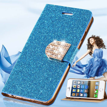 Glittered with Card Slots Flip Wallet PU Leather Case for iPhone 6