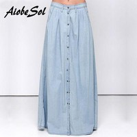 DCCKU62 Summer 2016 Women Long Denim Skirt Femme Casual Loose High Waisted Single Breasted Maxi Jean Skirt Saias Feminina 3XL