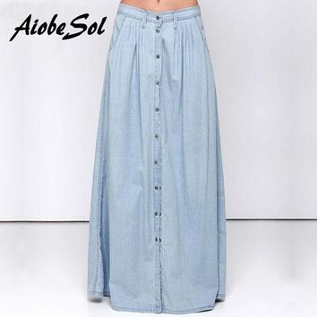 ONETOW Summer 2016 Women Long Denim Skirt Femme Casual Loose High Waisted Single Breasted Maxi Jean Skirt Saias Feminina 3XL