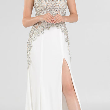 Off White V-Neck Sheer Appliqued Bodice Long Prom Dress with Slit