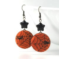 Dangle Earrings - Spiders and Stars for Halloween - Orange Black Web Boo Scary Fabric Covered Buttons Jewelry