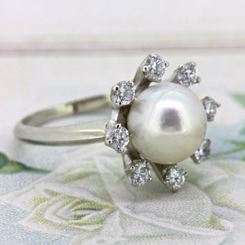 Vintage Pearl Engagement Ring   Diamond Halo Ring   Non Traditional Wedding Ring   18k White Gold 1960s Cocktail Ring   Gemstone Ring Size 6