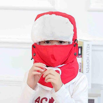 Free Shipping 2017 New Kids Children Winter Black Blue Solid Trapper Bomber Hats With Neck Warm Scarf Masks For Boys Girls