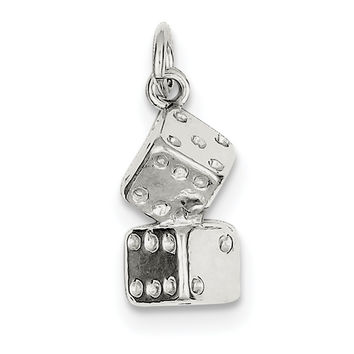 Sterling Silver Large Dice Charm QC830