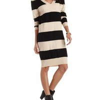 Black Combo Striped V-Neck Sweater Dress by Charlotte Russe