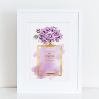 Chanel No5 print 8.5x11 purple rose watercolor with gold effect Digital file Instant download Coco Chanel Chanel poster Chanel Art Printable
