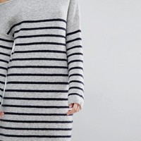 ASOS Sweater Dress with Off Shoulder in Stripe at asos.com