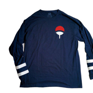 Uchiha Clan Inspired Embroidered Long Sleeve T-Shirt