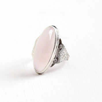 Vintage Art Deco Sterling Silver Rose Quartz Ring - 1930s Size 6 1/2 Light Pink Oblong Oval Cabochon Gem Statement Clark and Coombs Jewelry