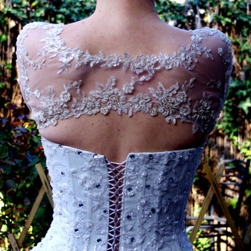 Bridal Bolero Ivory Beaded Lace Pearls 3/4 Sleeve, Bridal Shrug