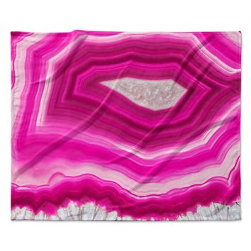 "Cafelab ""Bold Pink Agate "" Pink White Fleece Throw Blanket"