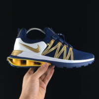 DCCK2 N105 Nike Shox Gravity Air Column Cushioning Casual Men And Women Running Shoes Blue Gold