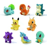 "8 Style Mini Pokemon GO Figure Plush Doll Toy 5.5"" Pikachu Charmander Gengar Eevee Snorlax Lapras Torchic Figure Toy Gift"