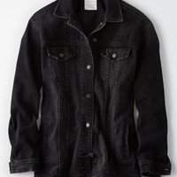 AE LONG LENGTH CLASSIC DENIM JACKET, Washed Black