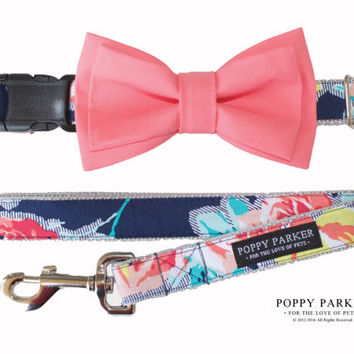 Layered Dog Bow Tie - Navy Flower With Coral Bow - Optional Matching Collar and Leash
