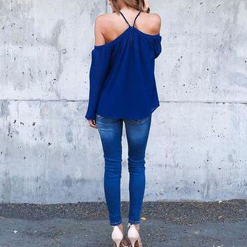 Women's Summer Sexy Halter Off Shoulder Long Sleeve Chiffon Blouse Shirt Top In Stock Fast Ship