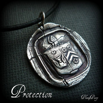 Protection Wax Seal Necklace in Silver by PlumAndPoseyInc on Etsy