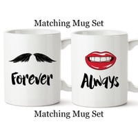 His And Hers, Funny Mugs, Lips, Mustache, Valentine's Day, Anniversary, Gifts, Mr and Mrs, Couples, Always, Forever, Coffee Cup