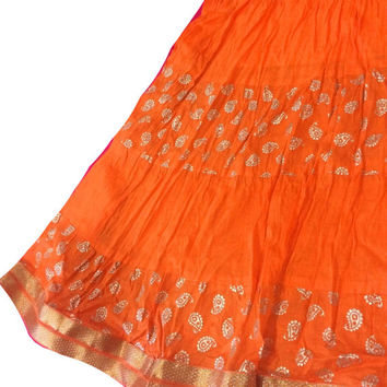 Orange gold print Party wear Skirt, Maxi Skirt, Bollywood Skirt, Belly dance skirt, Gypsy skirt, Flowy Indian Skirt, Festival Clothing,