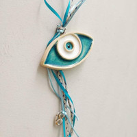 Ceramic blue eye, white and blue eye charm, evil eye protection charm, housewarming blue eye decor with '18' New Year's charm