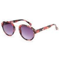Full Tilt Floral Round Sunglasses Black One Size For Women 25782910001