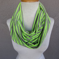 Neon Striped Infinity Scarf - Grey and Neon Green Scarf - Oversized Neon Jersey Scarf