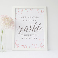 She leaves a little sparkle wherever she goes, Kate Spade Quote, Office Decor, Desk Accessories, Pink Nursery Art, Girls Room, Printable Art