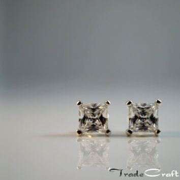 Princess Cut .65 Carats each - 5mm Cubic Zirconia Diamond Simulant Sterling Silver Stud Earrings