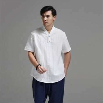 2017 Summer Shirt Men Blouse Flax Blusas Traditional Chinese Clothing Short Sleeve Linen Tops Ethnic Blusas Masculina Chemise