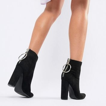 Public Desire Fleek Black Ring Detail Heeled Boots at asos.com
