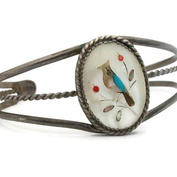 Vintage Zuni Native American Cuff Bracelet Handcrafted Sterling Silver Mother of Pearl Turquoise Coral Inlay Bird - 1970s
