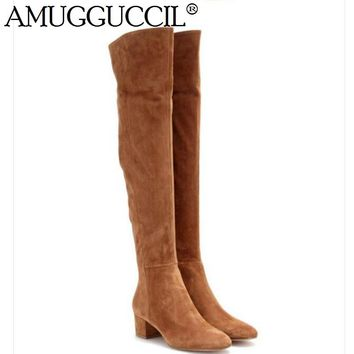 2017 New High Quality Plus Big Size 31-45 Cow Suede Black Brown Gray Zip Over The Knee Thigh High Autumn Winter Women Boot X1637