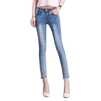 PEAPU3S 2017 New spring autumn Women lace Rhinestone Jeans denim Pencil Pants stretchy denim nine pants T857