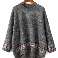Gray Bat Sleeve Mix Folk Knit Dipped Back Sweater