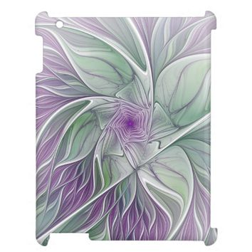 Flower Dream, Abstract Purple Green Fractal Art Case For The iPad