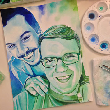 Special GIFT for GAY BOYFRIEND, for husband gay wedding anniversary gift, gay marriage gift, Custom watercolor portrait painting, lgbt gift