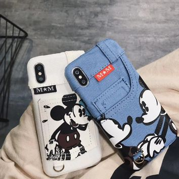 For iPhone X Mickey Mouse Jeans Denim Pocket Card Slot Leather Case For iPhone 8 6 6S 7 Plus