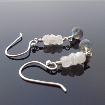 Dangly Labradorite earring, petite sterling silver beaded Moonstone earrings
