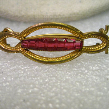 "Vintage Art Deco Barrette with Pink Baguettes, 1.5"", 1920-1930's"